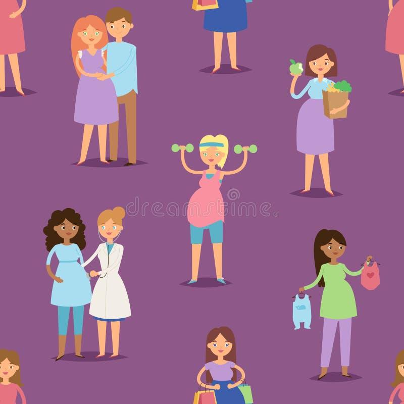Illustrazione lifeseamless di vettore del fondo del modello del carattere della donna incinta della ragazza di maternità di gravi royalty illustrazione gratis