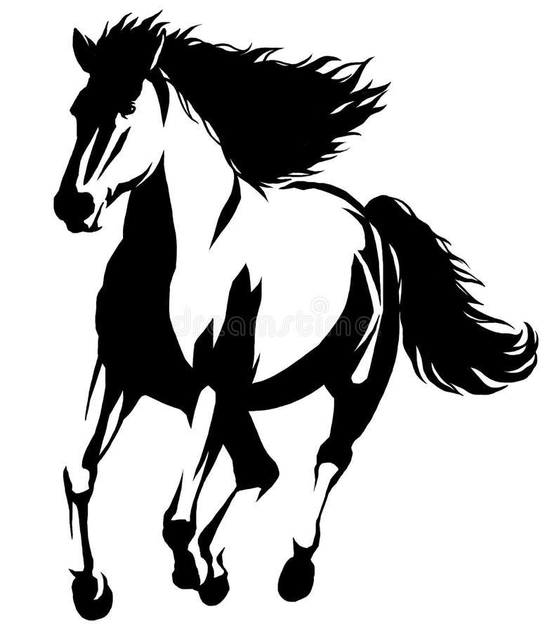 illustrazione lineare in bianco e nero del cavallo di