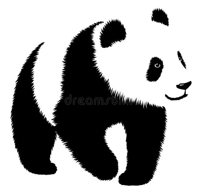 Illustrazione lineare in bianco e nero del panda di tiraggio della pittura illustrazione di stock