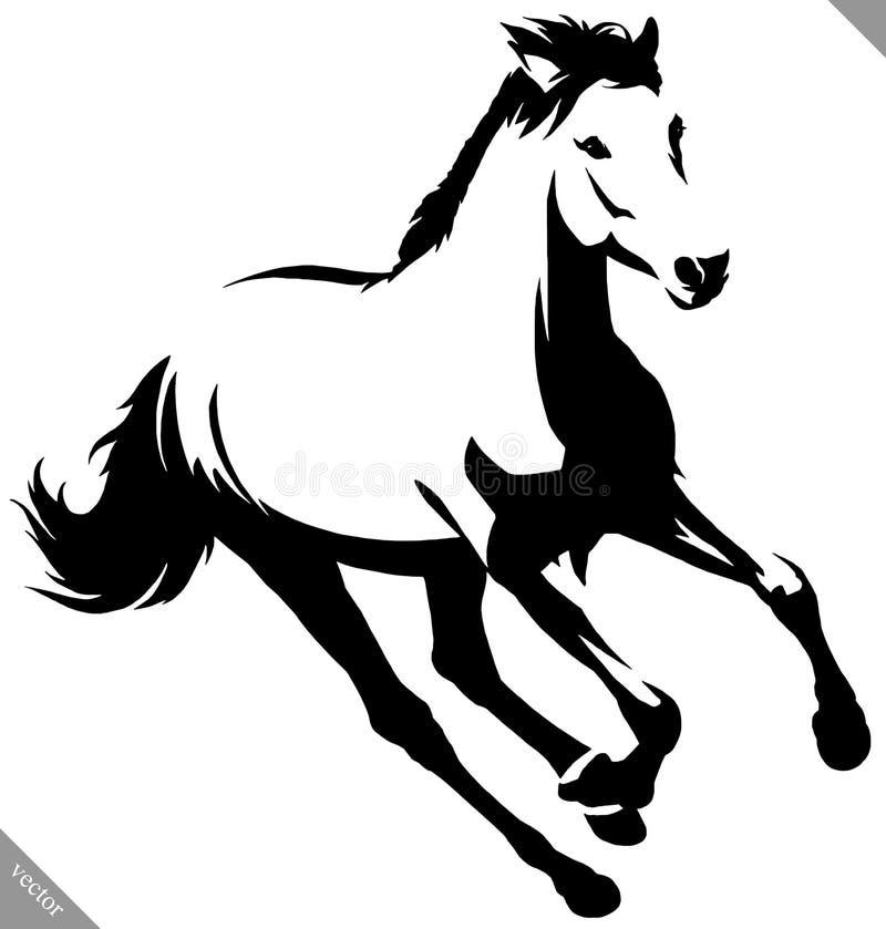 Illustrazione lineare in bianco e nero di vettore del cavallo di tiraggio della pittura royalty illustrazione gratis