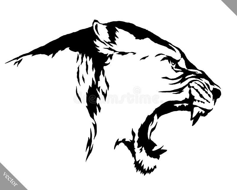 Illustrazione lineare in bianco e nero di vettore del leone di tiraggio della pittura illustrazione vettoriale