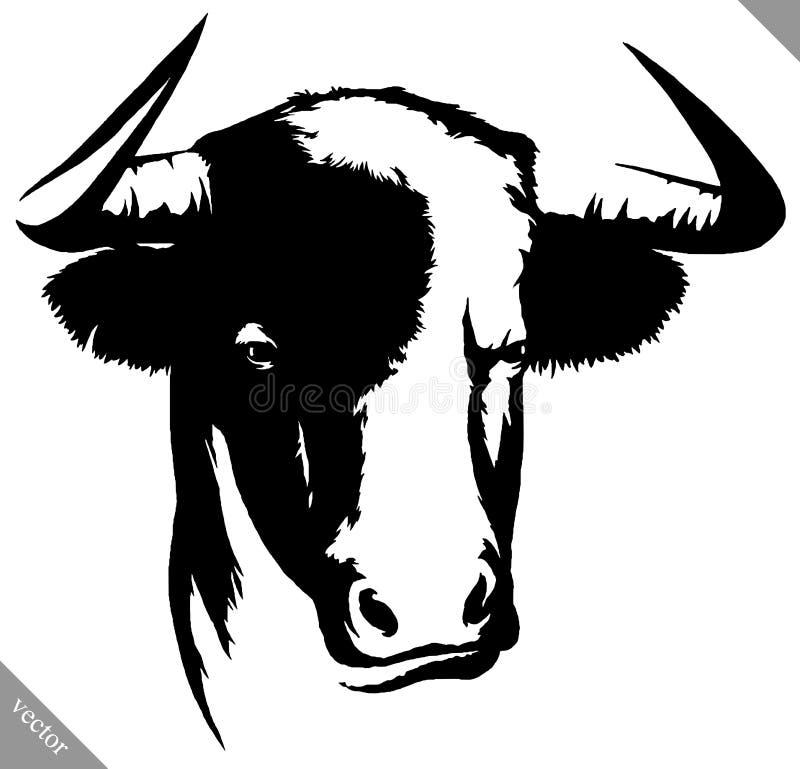 Illustrazione lineare in bianco e nero di vettore del toro di tiraggio della pittura royalty illustrazione gratis