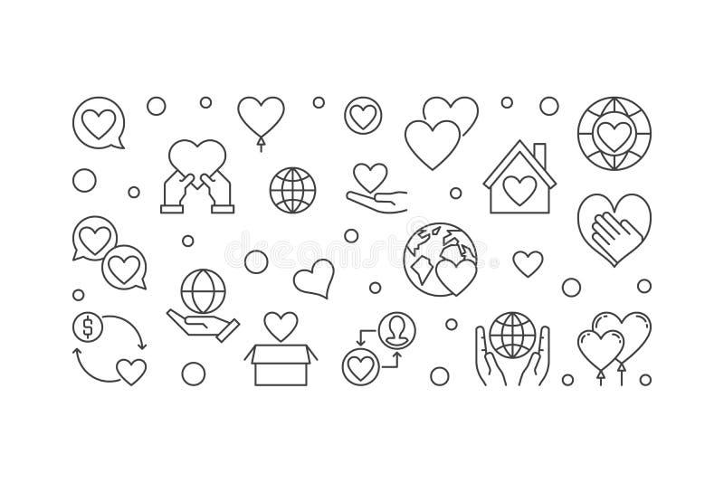 Illustrazione lineare di concetto di vettore di organizzazione no-profit royalty illustrazione gratis