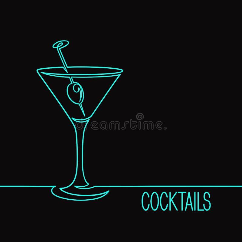 Illustrazione lineare di vetro di cocktail fotografie stock libere da diritti