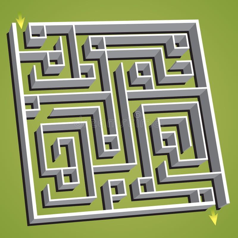 Illustrazione lineare di vettore Labirinto quadrato confuso illustrazione di stock