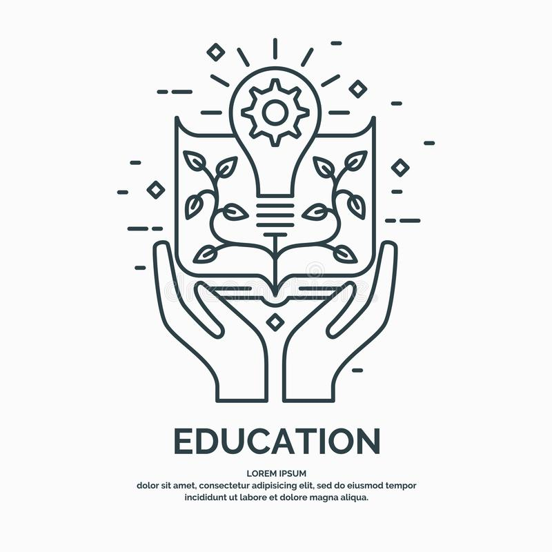 Illustrazione lineare moderna sul tema di istruzione royalty illustrazione gratis