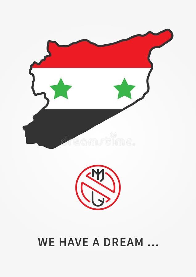 Illustrazione lineare pacifista di vettore della Siria illustrazione vettoriale
