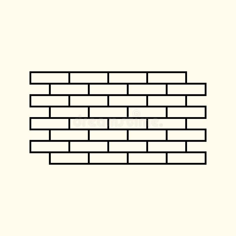 Illustrazione lineare semplice di un muro di mattoni, mattoni isolati, linea piana icona illustrazione vettoriale