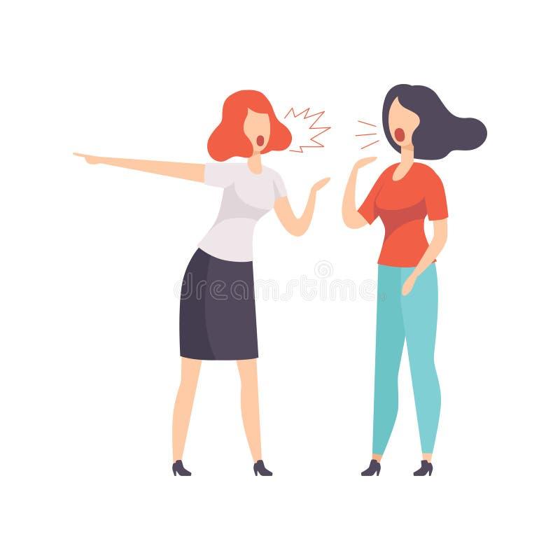 Illustrazione litigante di vettore di due giovani donne su un fondo bianco royalty illustrazione gratis