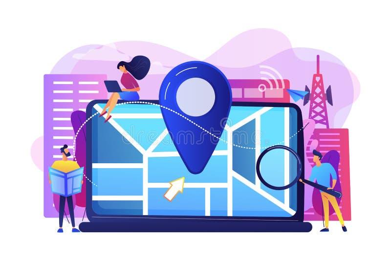 Illustrazione locale di vettore di concetto di ottimizzazione di ricerca illustrazione di stock