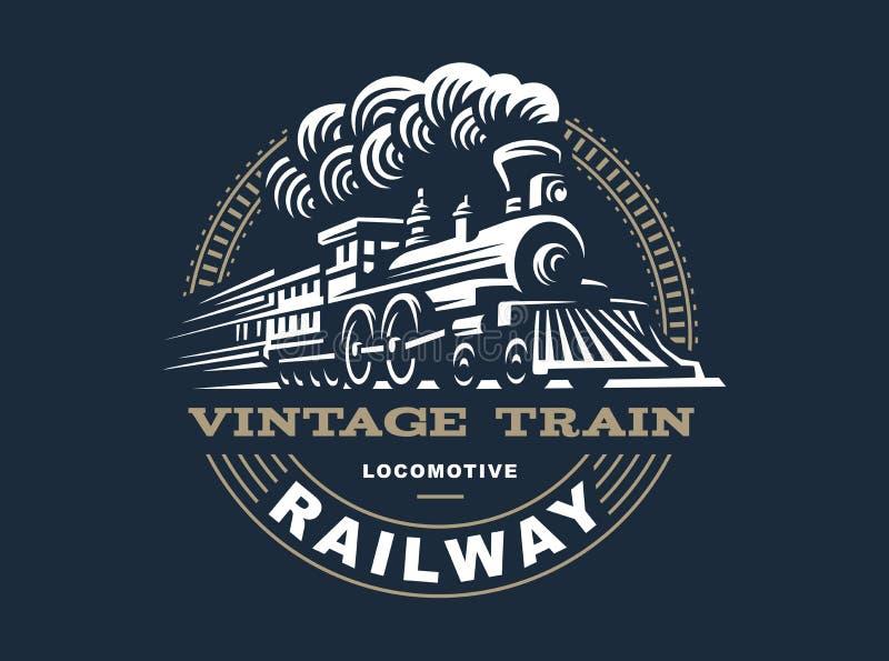 Illustrazione locomotiva di logo, emblema d'annata di stile fotografia stock