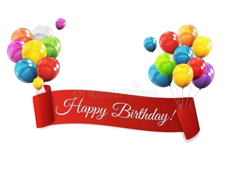 Illustrazione lucida di vettore del fondo di compleanno dei palloni di colore illustrazione di stock