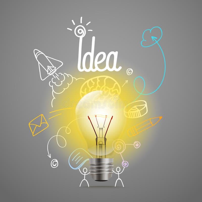 Illustrazione luminosa di vettore della lampada Idea illustrazione di stock
