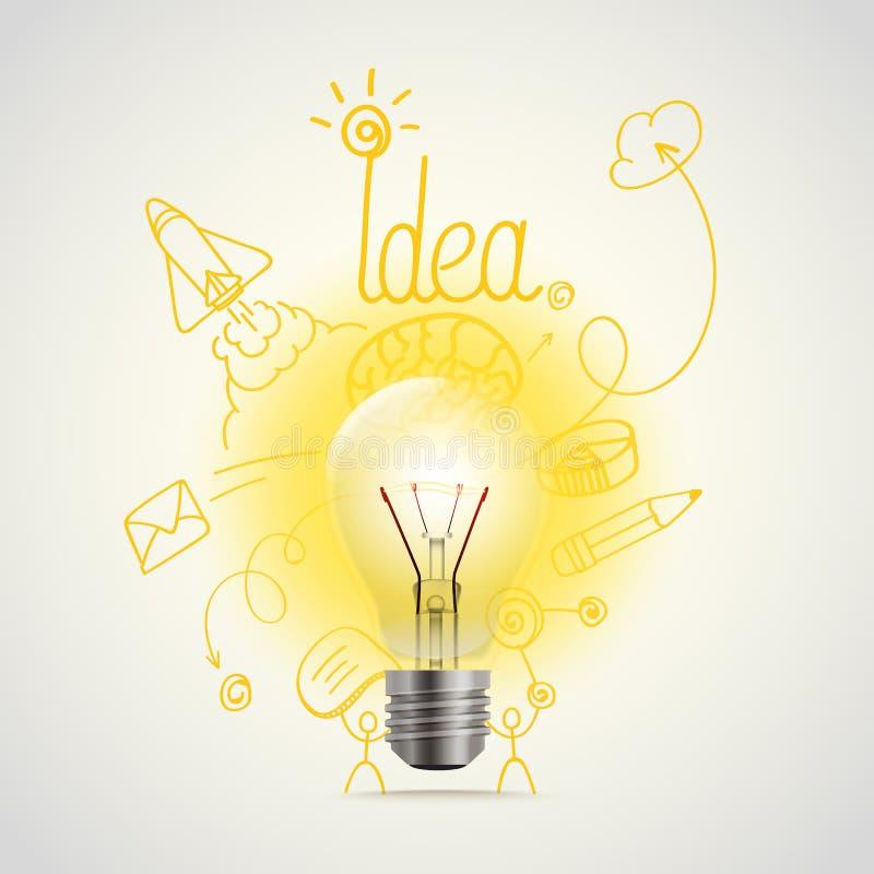 Illustrazione luminosa di vettore della lampada Idea royalty illustrazione gratis