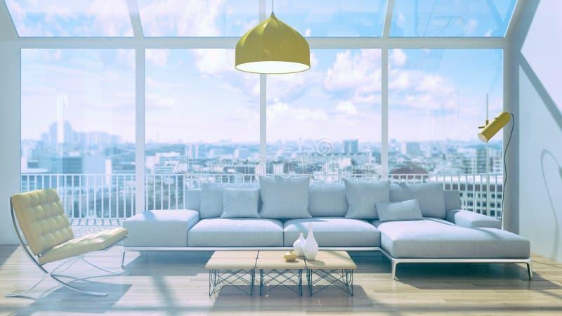 Illustrazione luminosa moderna della rappresentazione dell'appartamento 3D degli interni royalty illustrazione gratis