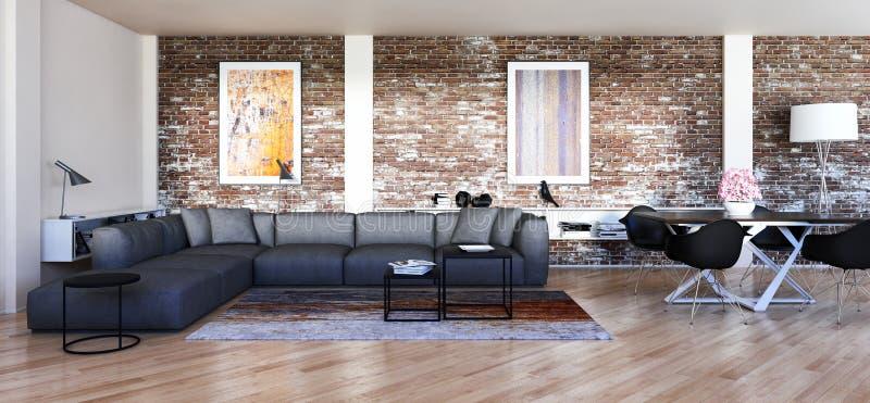 Illustrazione luminosa moderna della rappresentazione dell'appartamento 3D degli interni illustrazione di stock