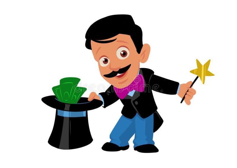 Illustrazione magica del fumetto dei soldi del mago dell'uomo illustrazione di stock