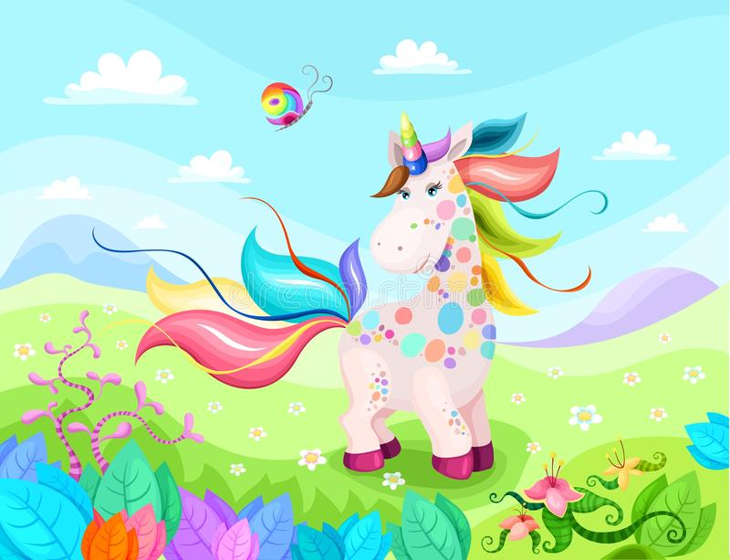 Illustrazione magica dell'unicorno con bello fondo illustrazione vettoriale