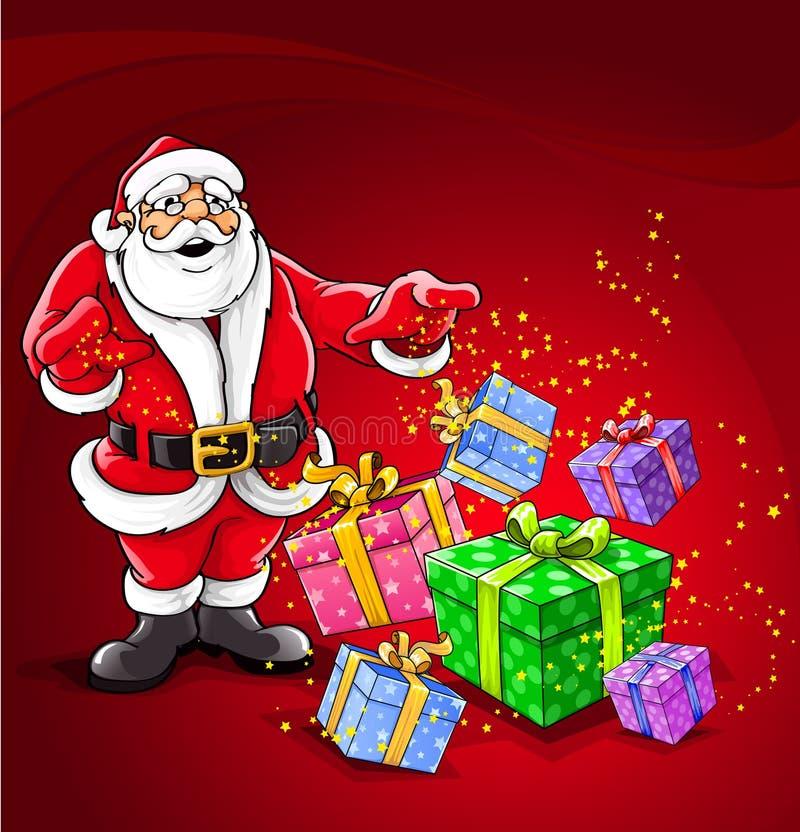 Illustrazione magica di vettore di natale del Babbo Natale royalty illustrazione gratis