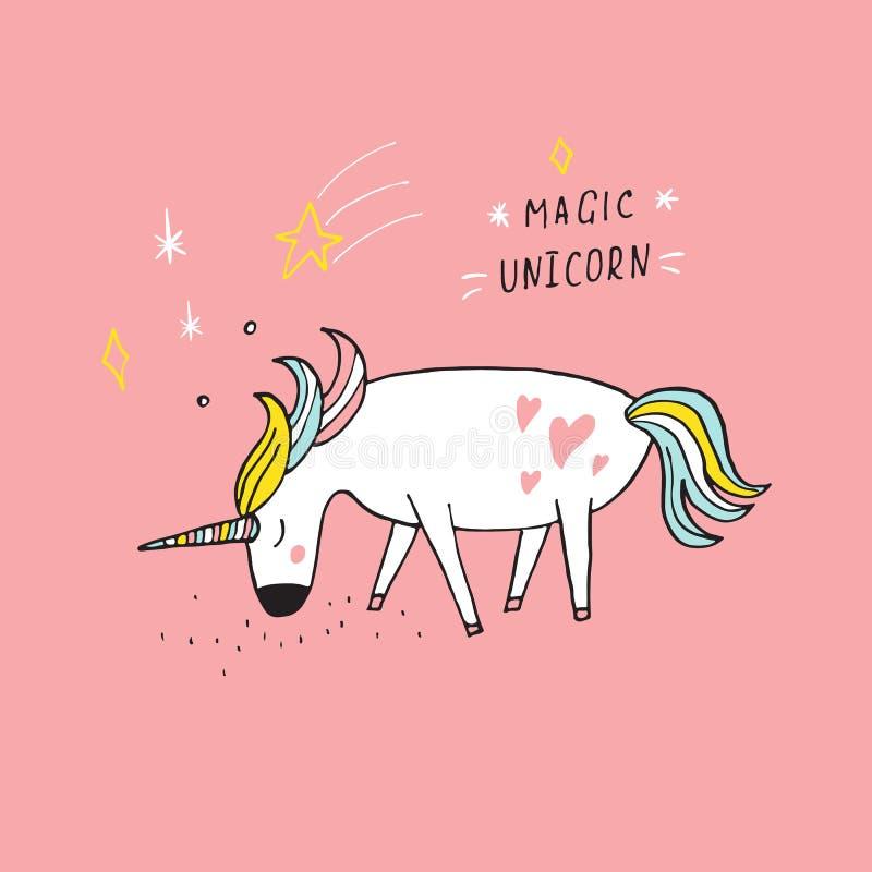 Illustrazione magica disegnata a mano dell'unicorno ed iscrizione handdrawing Il disegno sveglio del fumetto ha convertito  royalty illustrazione gratis