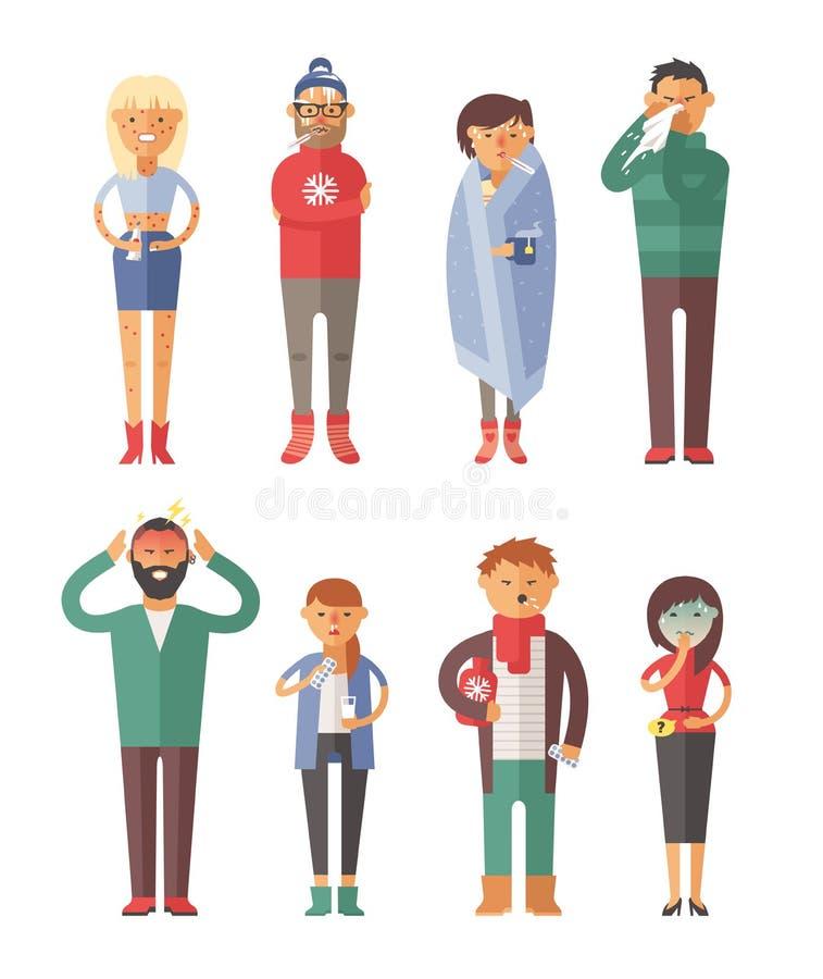 Illustrazione malata di vettore della gente Virus stagionale illustrazione vettoriale