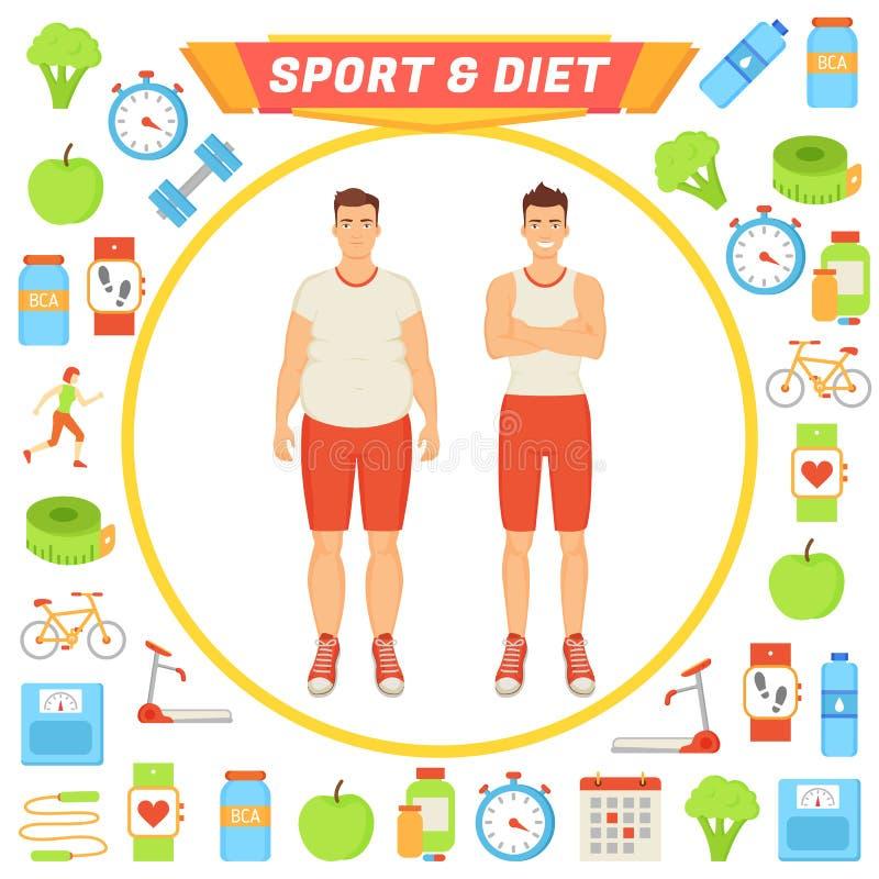 Illustrazione maschio di vettore del manifesto di dieta e di sport royalty illustrazione gratis