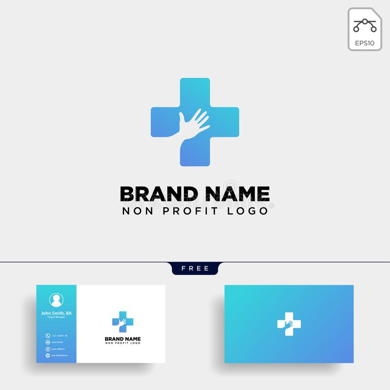 illustrazione medica del modello di logo di sanità della mano trasversale fotografia stock