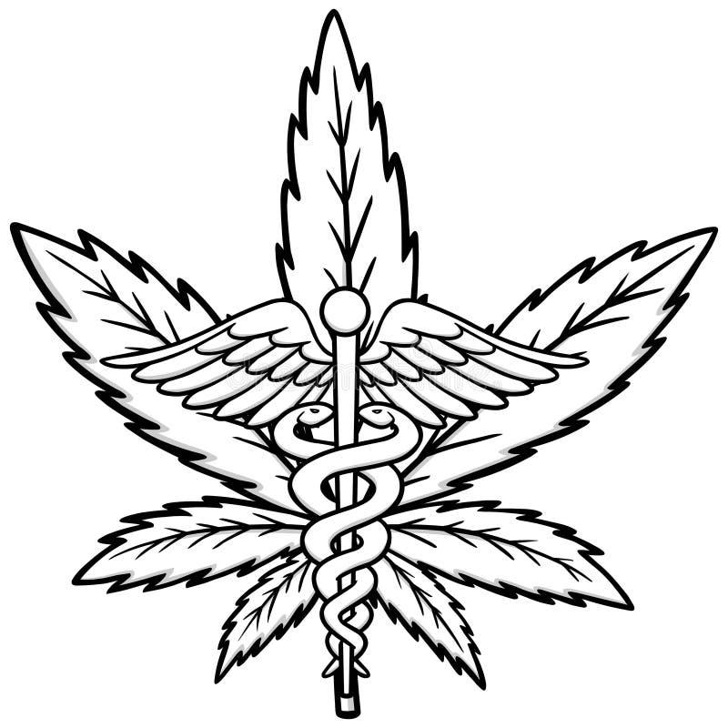 Illustrazione medica dell'icona della marijuana illustrazione di stock