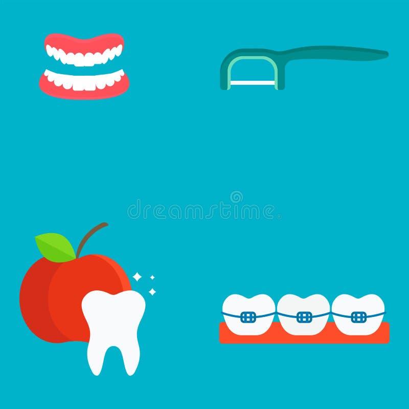 Illustrazione medica di vettore di stomatologia di igiene dello strumento della medicina degli strumenti del dentista piano di sa royalty illustrazione gratis