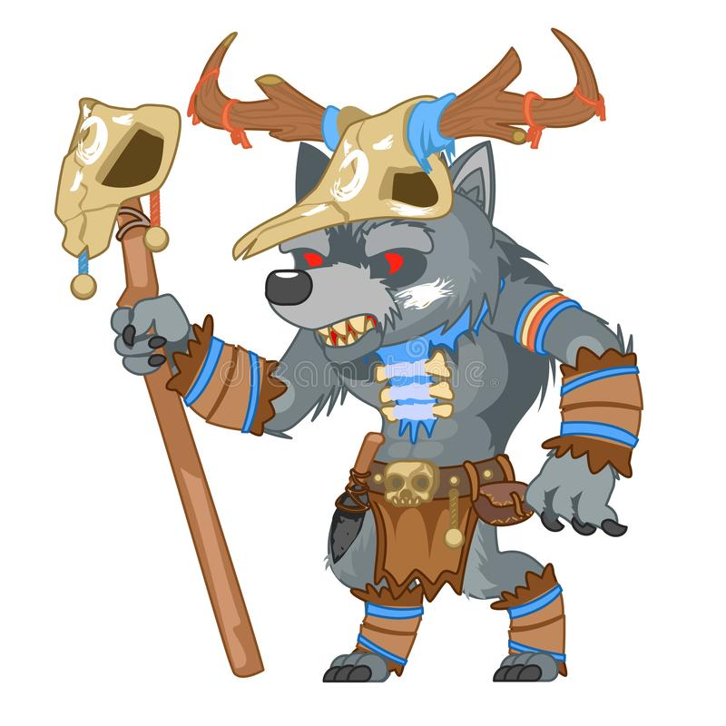 Illustrazione medievale di vettore del carattere del gioco di RPG di azione di fantasia del mostro dello sciamano di mutaforma de royalty illustrazione gratis