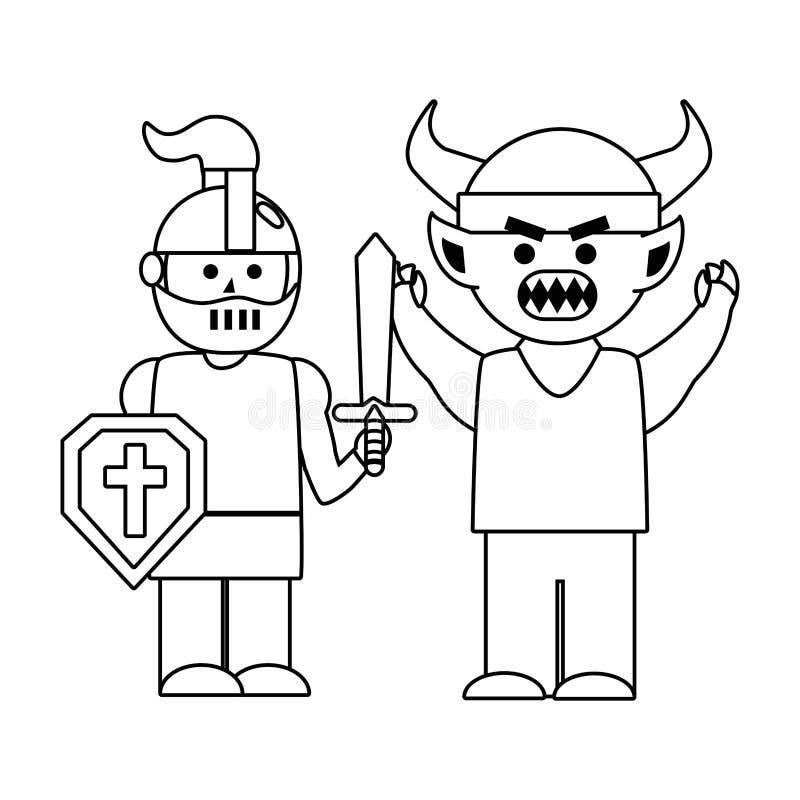 Illustrazione medievale isolata di vettore di progettazione del troll e del cavaliere royalty illustrazione gratis