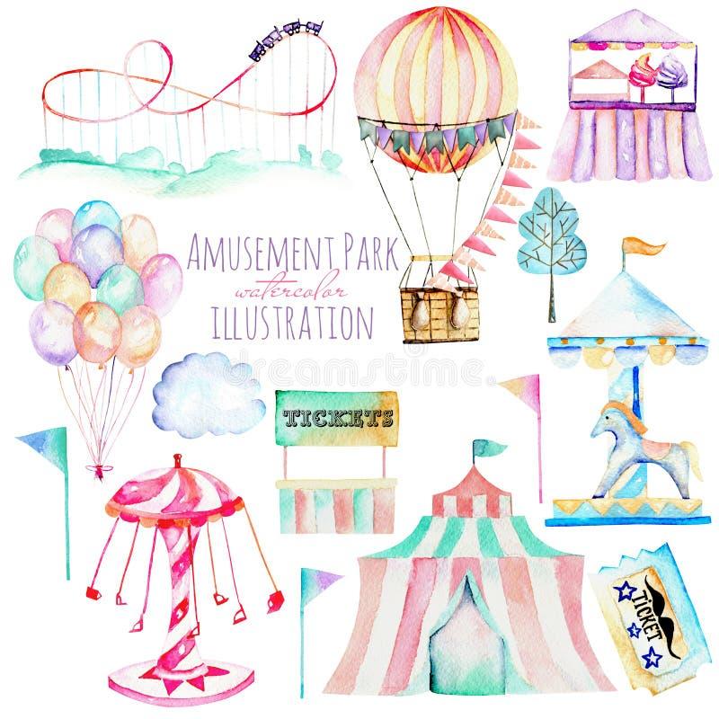 Illustrazione messa con gli elementi dell'acquerello del parco di divertimenti illustrazione di stock
