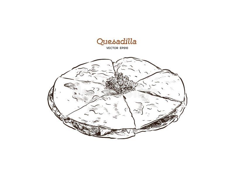Illustrazione messicana di schizzo dell'alimento di quesadilla disegnata a mano di vettore illustrazione vettoriale