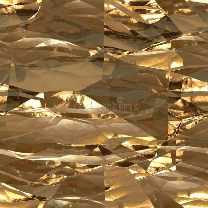 Carta metallica senza cuciture della stagnola del fondo dell'oro fotografia stock libera da diritti