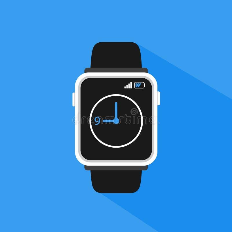 Illustrazione minimalista piana semplice di vettore dello smartwatch fotografia stock
