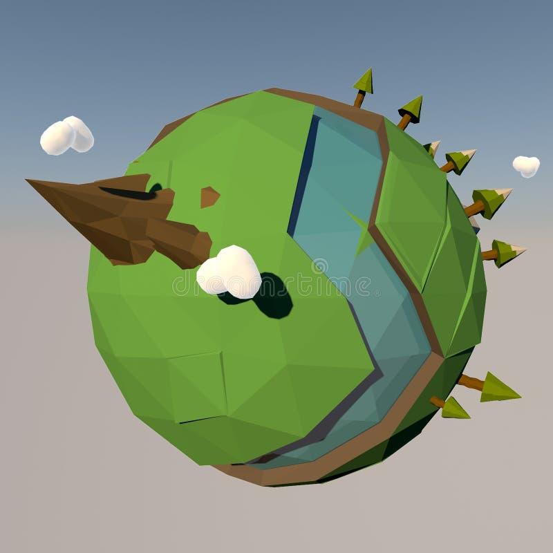 Illustrazione minuscola del pianeta Terra del fumetto royalty illustrazione gratis