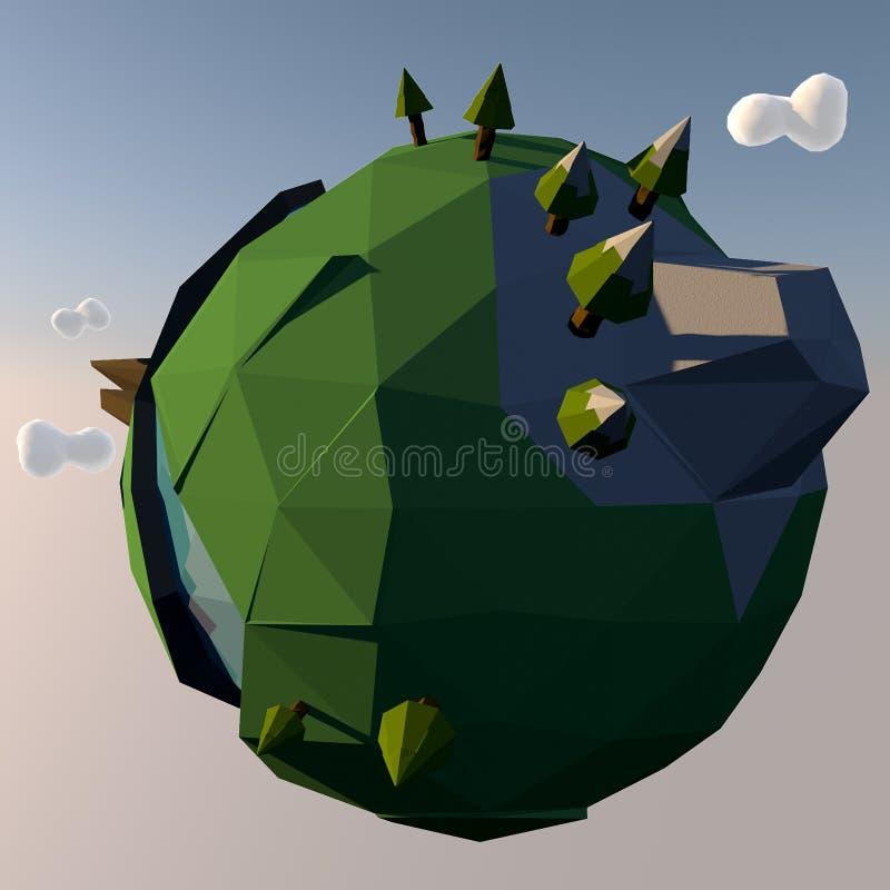 Illustrazione minuscola del pianeta Terra del fumetto illustrazione vettoriale