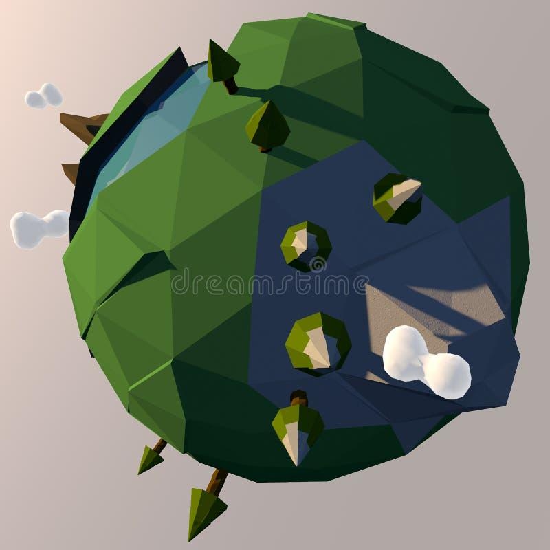 Illustrazione minuscola del pianeta Terra del fumetto illustrazione di stock