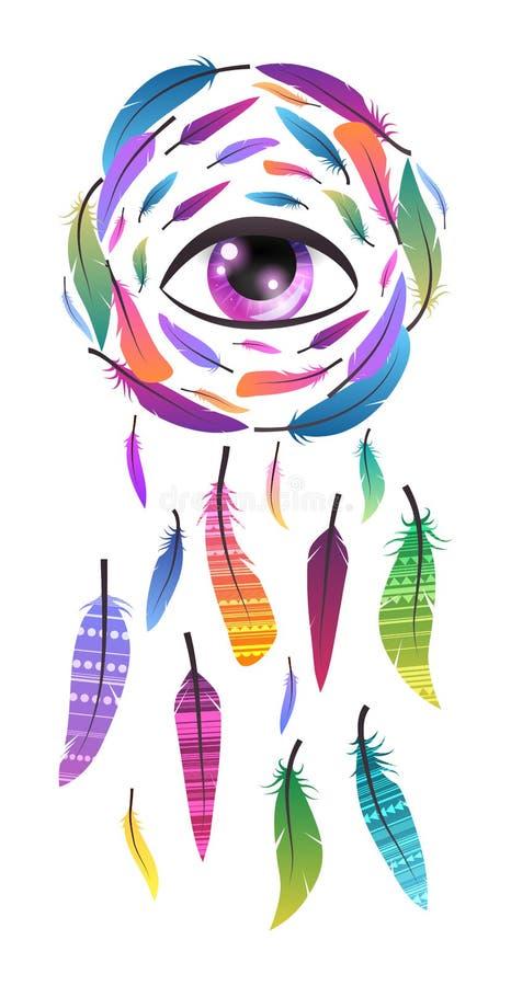 Illustrazione mistica di un dreamcatcher con l'occhio di provvidenza, del modello dei trafori di boho e delle piume su un fondo b royalty illustrazione gratis