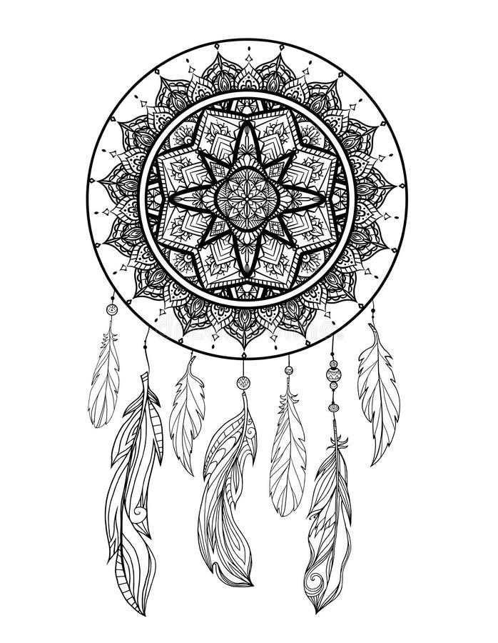Illustrazione mistica di un dreamcatcher con un modello dei trafori di boho, piume con le perle su un fondo bianco Magia di vetto illustrazione di stock