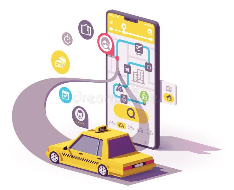 Illustrazione mobile del app del taxi di vettore illustrazione vettoriale
