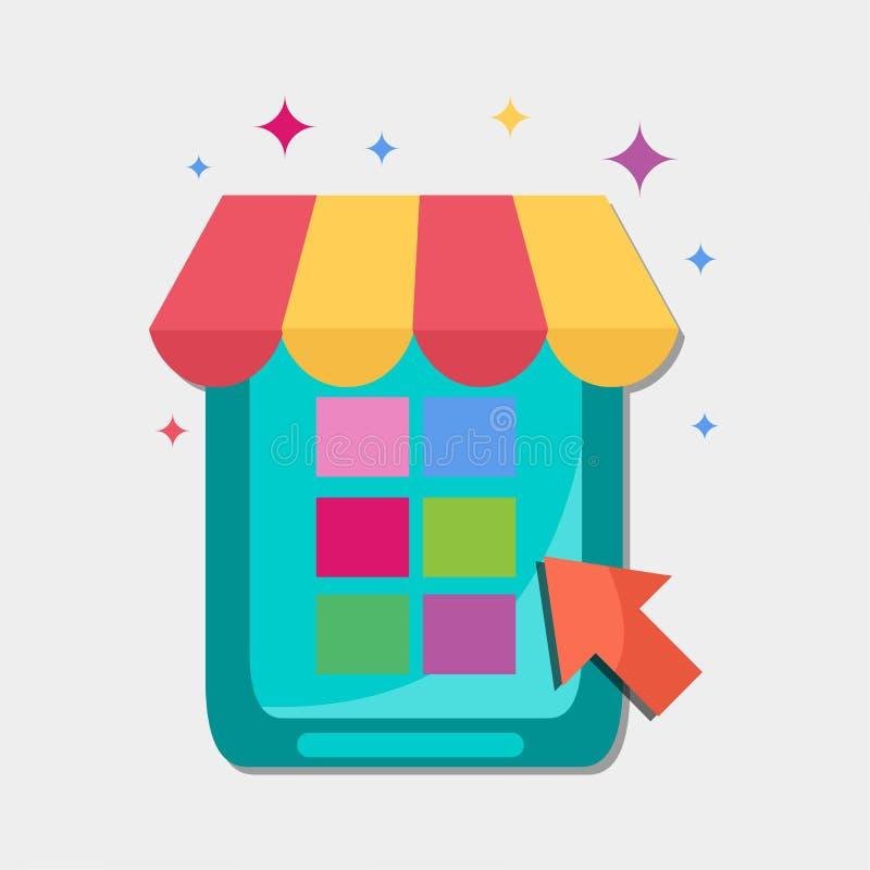 Illustrazione mobile di simbolo di vettore del negozio di commercio elettronico illustrazione di stock