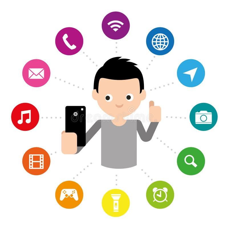 Illustrazione mobile di vettore di simbolo dell'icona del bottone di applicazione dello Smart Phone dello schermo attivabile al t illustrazione di stock