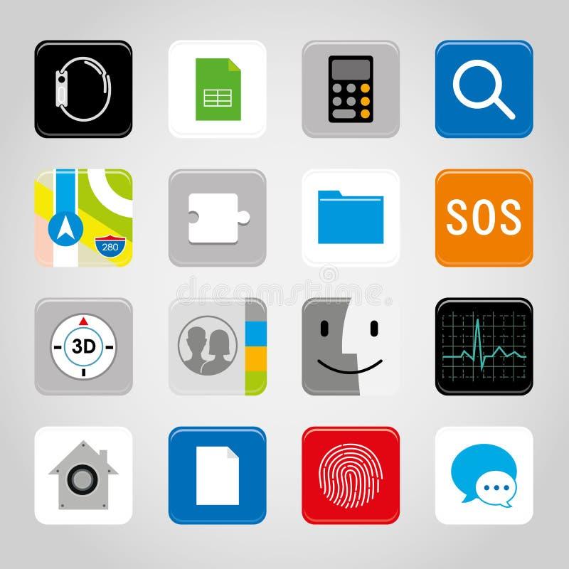 Illustrazione mobile di vettore di simbolo dell'icona del bottone di applicazione dello Smart Phone dello schermo attivabile al t illustrazione vettoriale