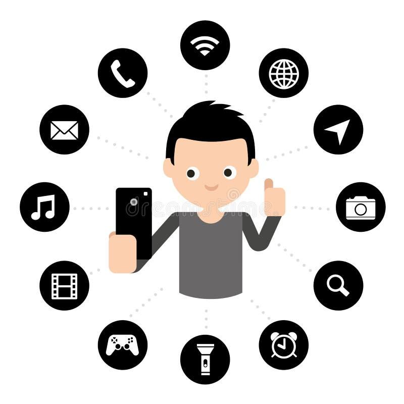 Illustrazione mobile di vettore di simbolo dell'icona del bottone di applicazione dello Smart Phone dello schermo attivabile al t royalty illustrazione gratis