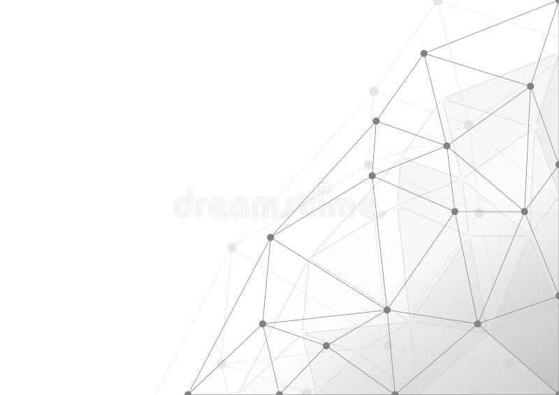 Illustrazione moderna astratta di vettore del fondo di colore di tecnologia geometrica pulita bianca e grigia di forme illustrazione di stock