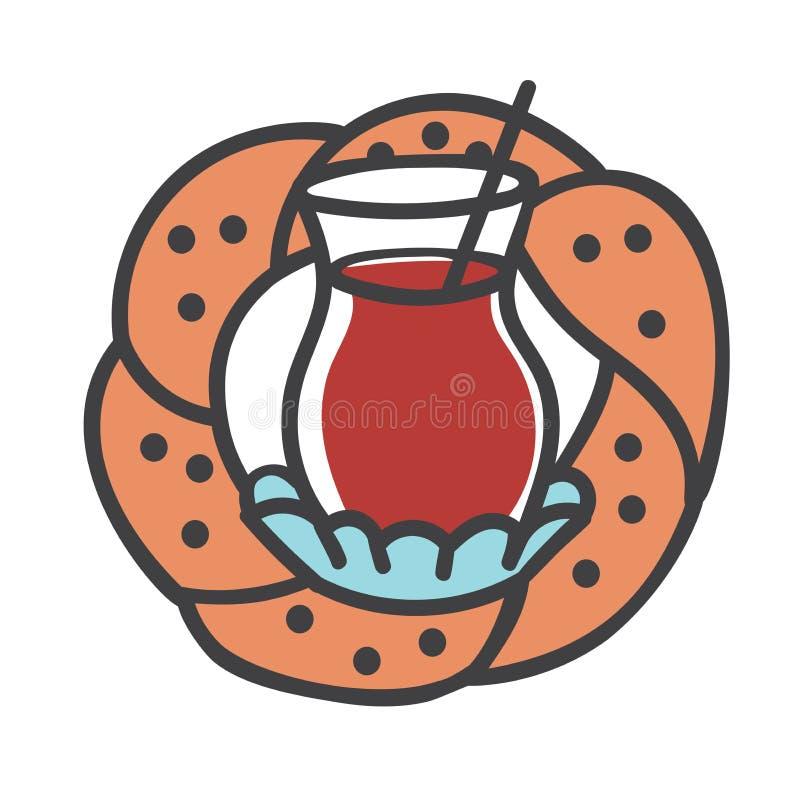 Illustrazione moderna colorata di vettore dei simboli turchi: vetro del tè nero, bagel tradizionale illustrazione di stock