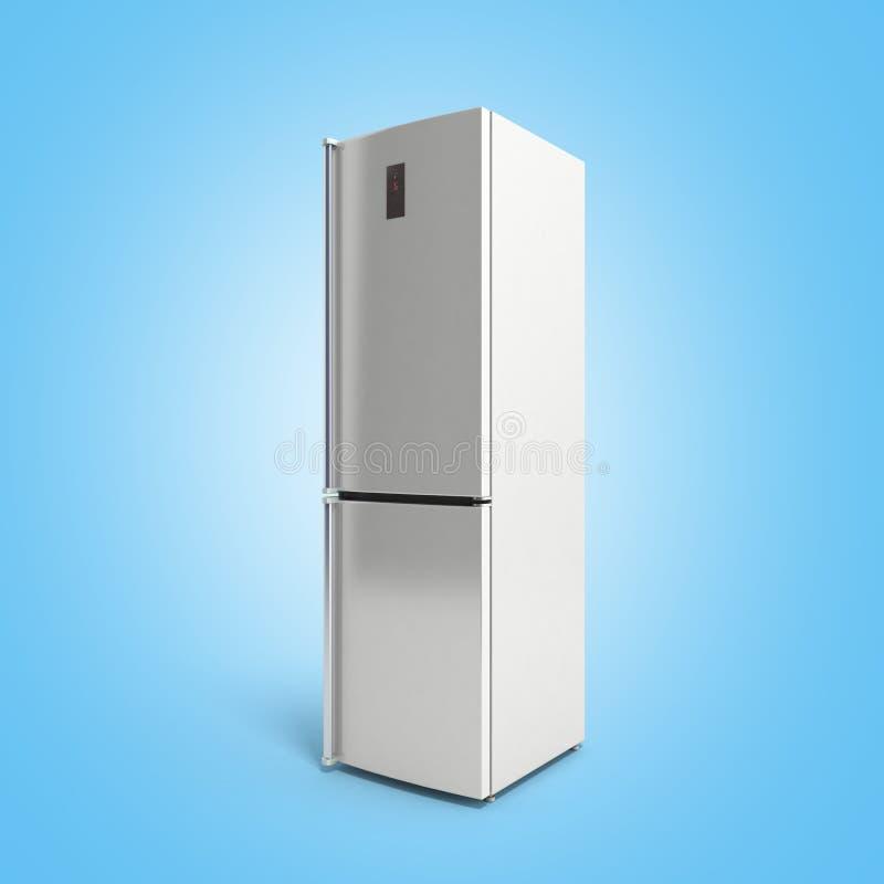 Illustrazione moderna del frigorifero 3d dell'acciaio inossidabile sul blu royalty illustrazione gratis