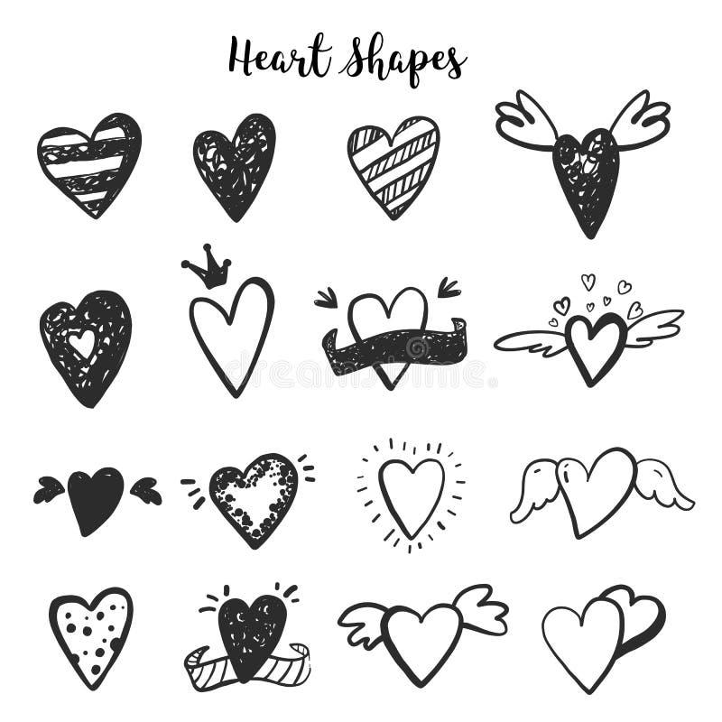 Illustrazione moderna del fumetto del cuore Icone scure romantiche sveglie Fondo di schizzo di scarabocchio Icona disegnata a man illustrazione di stock