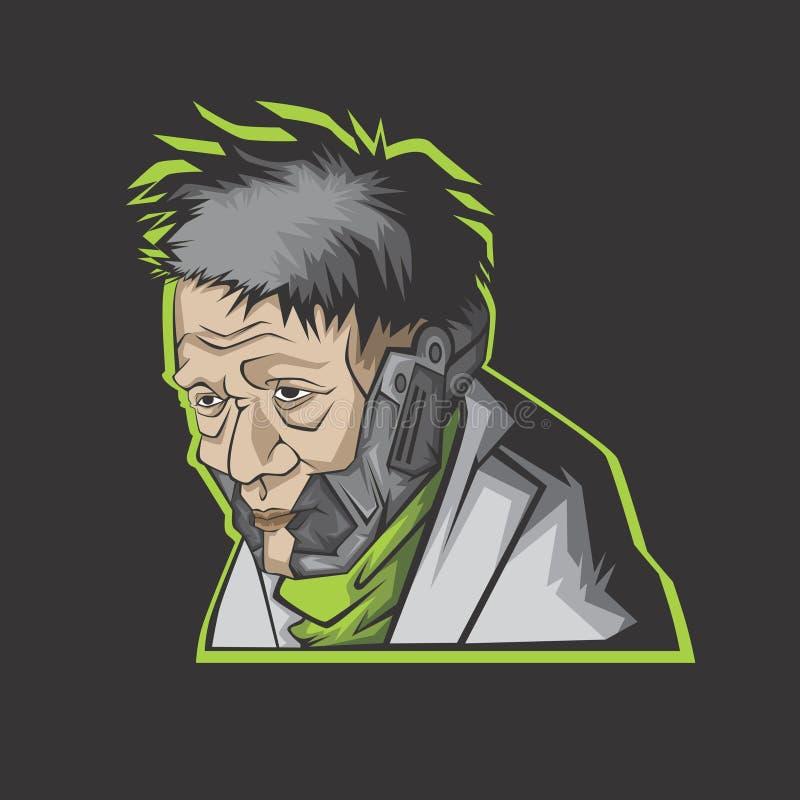 Illustrazione moderna dell'uomo anziano illustrazione di stock